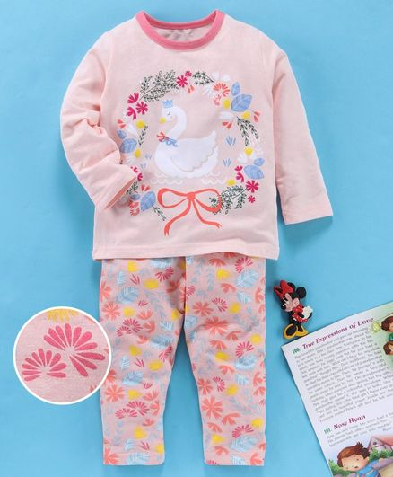 Kookie Kids Full Sleeves Night Suit Floral Print - Light Pink