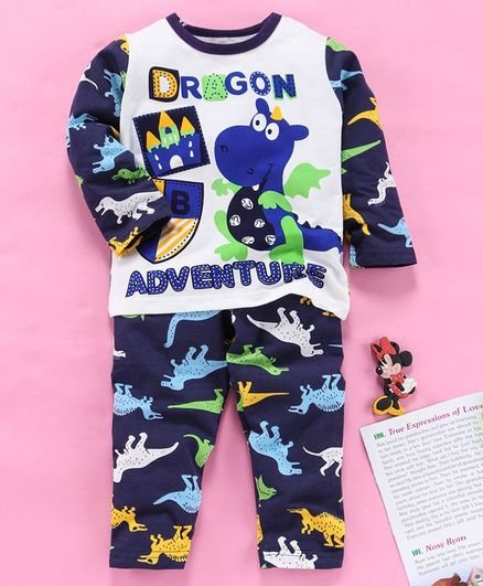 Kookie Kids Full Sleeves Night Suit Believe Print - White Navy Blue
