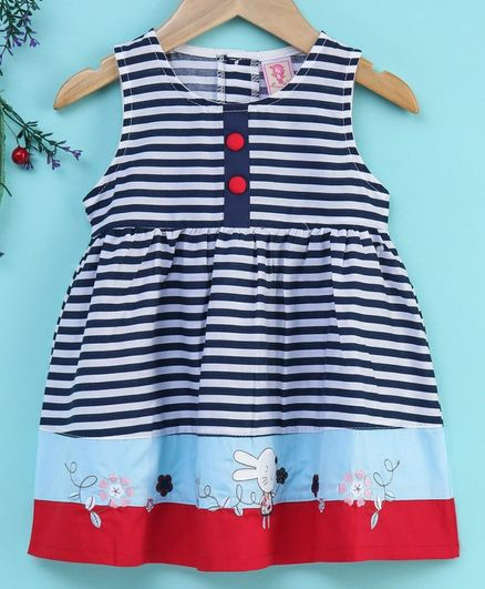 Sunny Baby Sleeveless Striped Frock Bunny Patch - Navy Blue