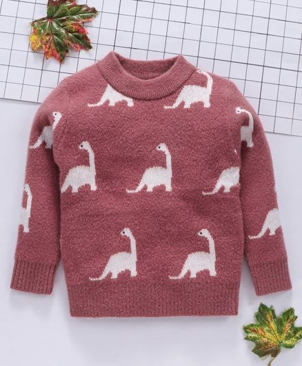 Kookie Kids Full Sleeves Sweater Dinosaur Print - Coral