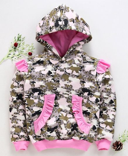 Tiara Flowers Printed Front Pocket Full Sleeves Hoodie - Pink