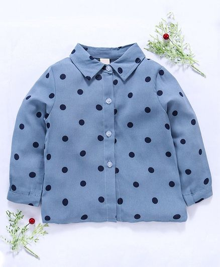 Kookie Kids Full Sleeves Shirt Polka Dot Print - Blue