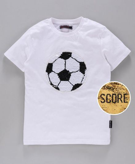MAGIC TEES Half Sleeves Reverse Sequinned Football Patch Tee - Black
