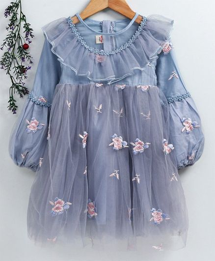 Kookie Kids Full Sleeves Frock Floral Embroidered - Blue