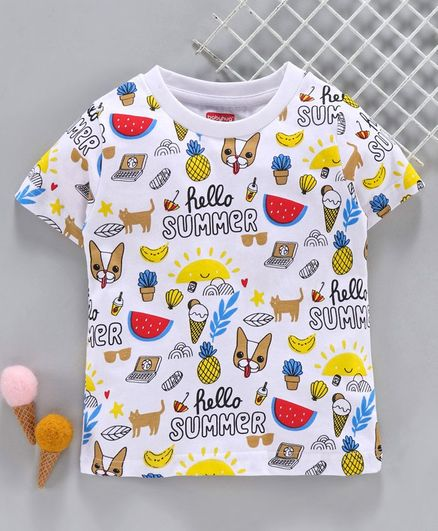 Babyhug Half Sleeves Tee Summer Print - White