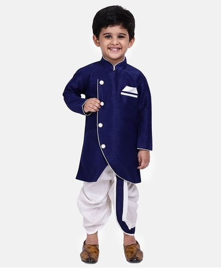 BownBee Solid Full Sleeves Sherwani With Dhoti - Blue & White