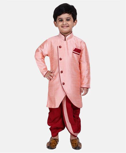 BownBee Solid Full Sleeves Sherwani With Dhoti - Peach & White