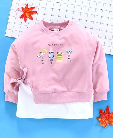 Meng Wa Full Sleeves Winter Wear Tee Planner Girls Print - Pink