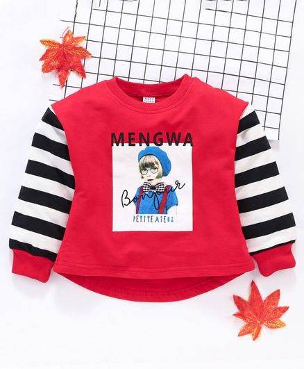 Meng Wa Full Sleeves Winter Wear Tee Graphic Print - Red