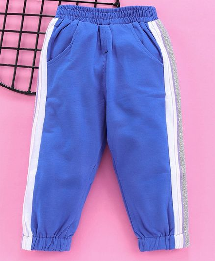 Meng Wa Full Length Track Pant With Glitter Bands - Blue