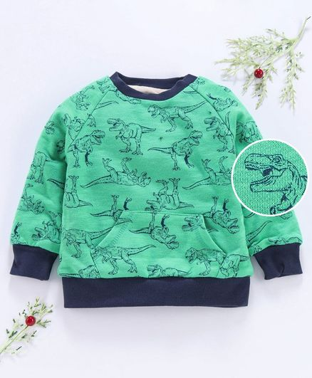 Yiyi Garden Full Sleeves Tee Dino Print - Green