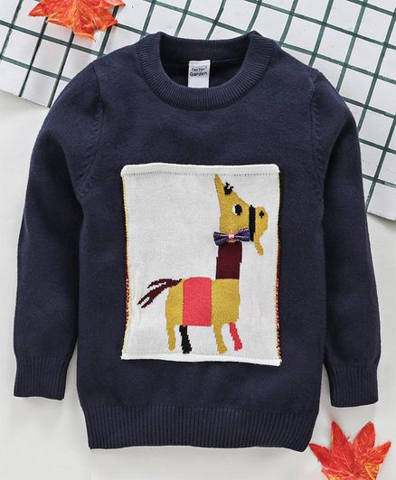 Yiyi Garden Full Sleeves Winter Tee Animal Patch - Navy Blue