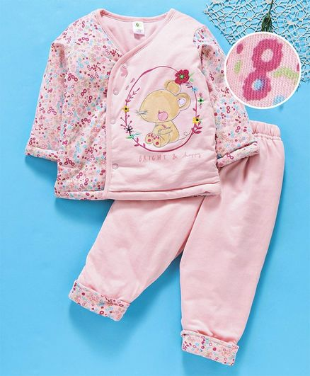Cucumber Full Sleeves Night Suit Floral Print - Pink