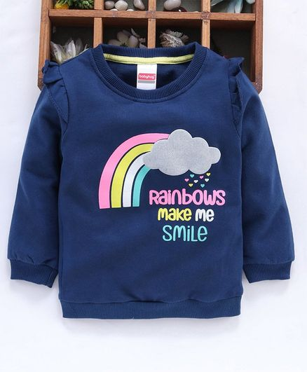 Babyhug Full Sleeves Sweatshirt Rainbow Print - Blue