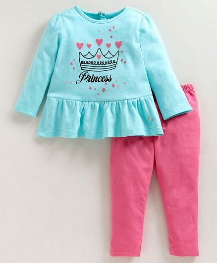 Babyoye Full Sleeves Cotton Top & Leggings Princess Print - Blue Pink
