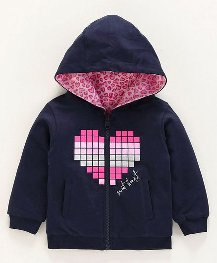 Babyoye Full Sleeves Cotton Hooded Sweat Jacket Striped - Navy Pink