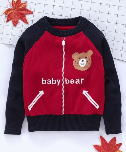 Kookie Kids Full Sleeves Sweater Bear Design - Red