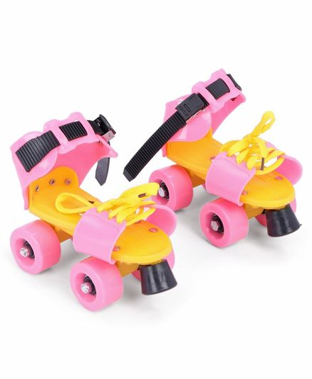 Gooyo Adjustable Colourful Mini Roller Skates with Brakes - Pink
