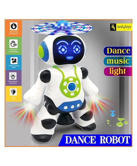 Zest 4 Toyz 360 Degree Rotating Dancing Walking Robot Toy With Flashing Light & Sounds - White Blue