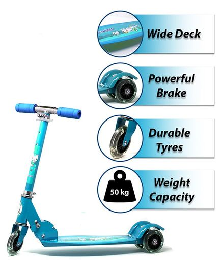 Zest 4 Toyz 3 Wheel Scooter With Brake - Light Blue