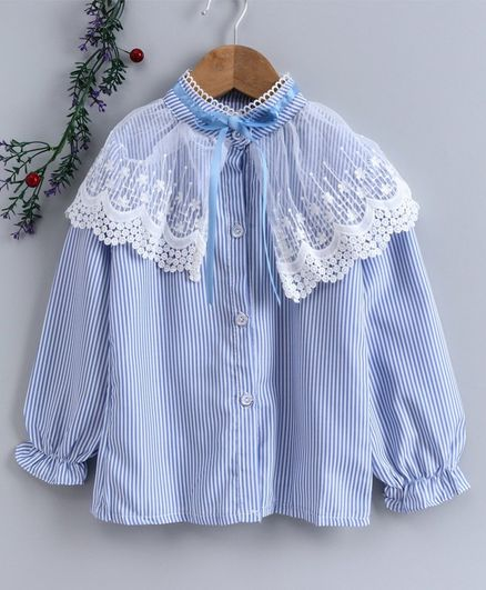 Kookie Kids Full Sleeves Striped Shirt Lace Detail  Blue