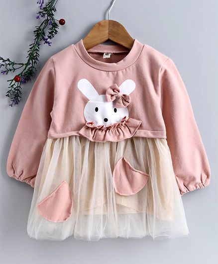 Kookie Kids Full Sleeves Frock Rabbit Print - Pink