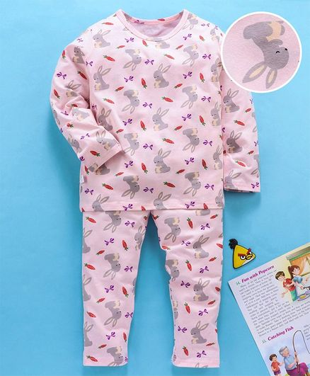 Kookie Kids Full Sleeves Night Suit Bunny Print - Light Pink