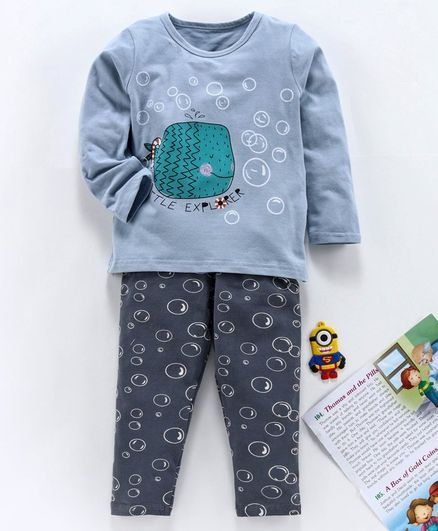 Kookie Kids Full Sleeves Night Suit Fish Print - Grey Blue