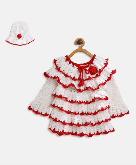 MayRa Knits Layered Full Sleeves Dress With Cap - White & Red