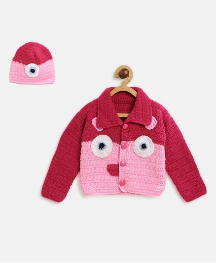 MayRa Knits Full Sleeves Animal Pattern Sweater With Cap - Pink