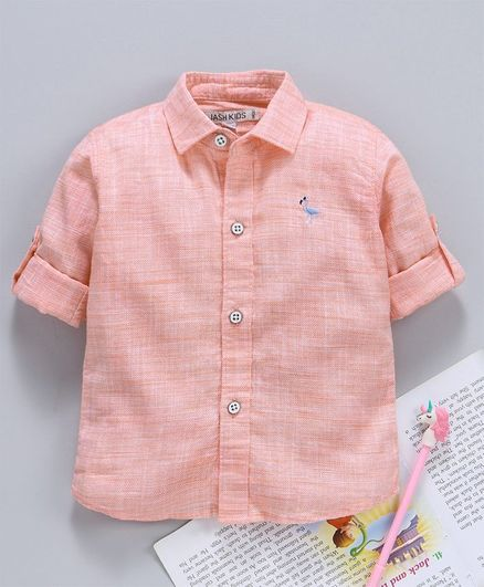 Jash Kids Full Sleeves Solid Shirt - Light Orange