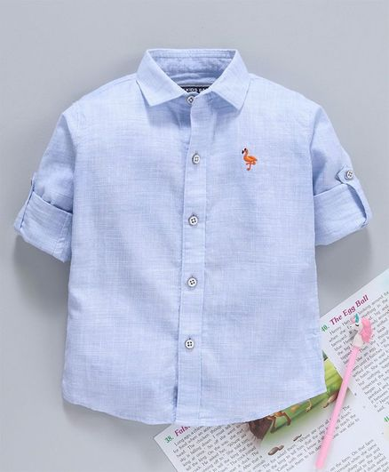 Jash Kids Full Sleeves Solid Shirt - Light Blue