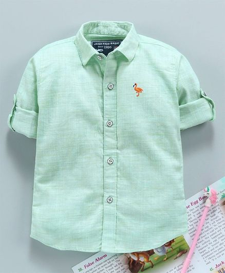 Jash Kids Full Sleeves Solid Shirt - Light Green
