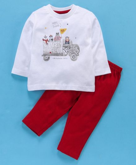 Zero Full Sleeves Tee & Lounge Pant Happy Friends Print - White Red