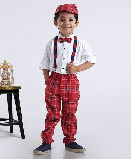 Dapper Dudes Full Sleeves Shirt With Checked Bottom & Cap With Bow & Suspenders - White & Red