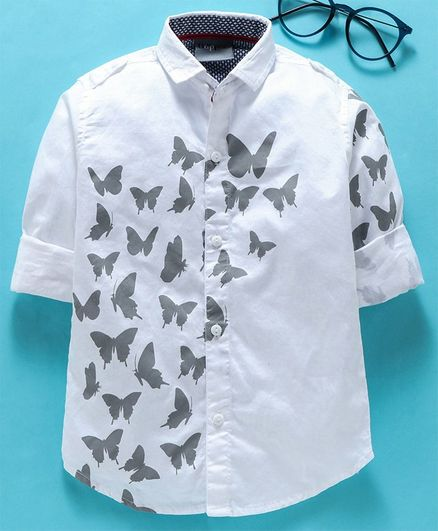 Dapper Dudes Butterfly Printed Roll Up Full Sleeves Shirt - Grey