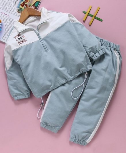 Kookie Kids Full Sleeves Jacket With Bottom Text Embroidery -  Grey