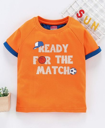 Babyhug Half Sleeves Tee Text Print - Orange