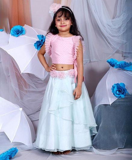 Kirti Agarwal Pret N Couture Varsha Showering Trends Pleated Sleeveless Choli With Flower Applique Lehenga - Light Blue & Pink