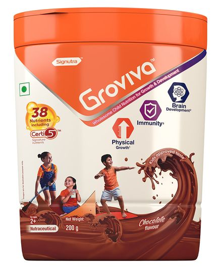 Groviva Child Nutrition Chocolate Flavour Supplement Jar - 200 gm