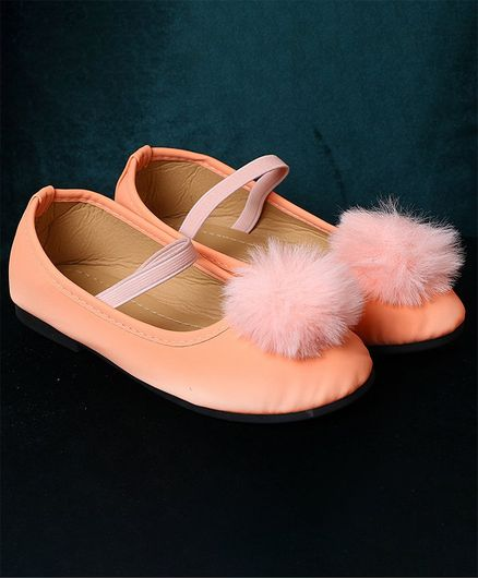 Passion Petals Pom Pom Decorated Ballerinas - Peach