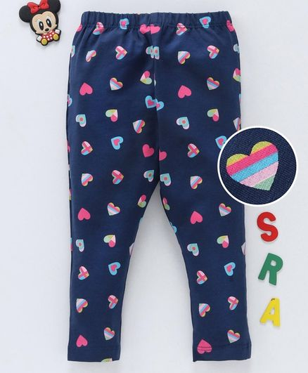 Babyhug Full Length Leggings Heart Print - Navy Blue