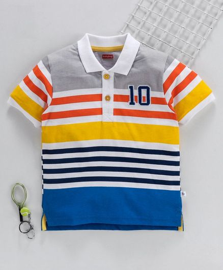 Babyhug Half Sleeves Striped Tee - Multicolor