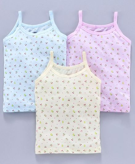 Simply Singlet Slips Fruits Print Pack Of 3 - Multicolor
