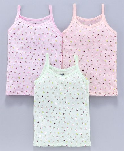 Simply Singlet Slips Cherry Print Pack of 3 - Green Pink Peach