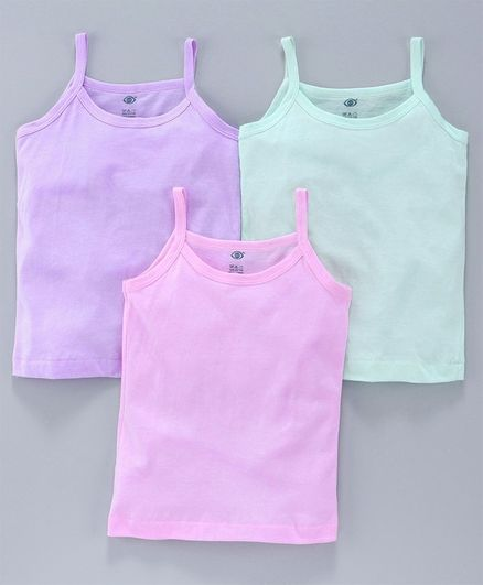 Zero Sleeveless Slips Pack of 3 - Green Pink Purple
