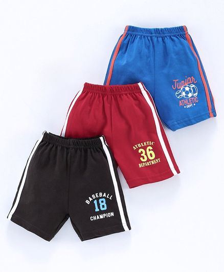 Zero Shorts Multi Print Pack of 3 - Red Blue Black