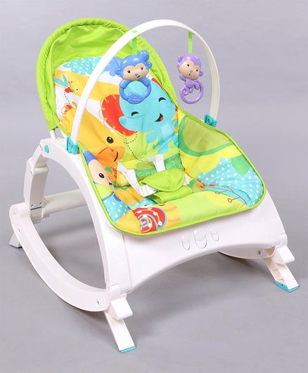 Baby Bouncer With Hanging Toys - Green & Multicolor