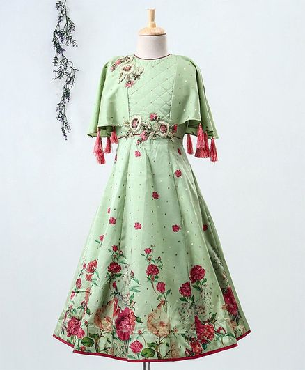 Enfance Half Sleeves Poncho Style Flower Print Gown - Light Green