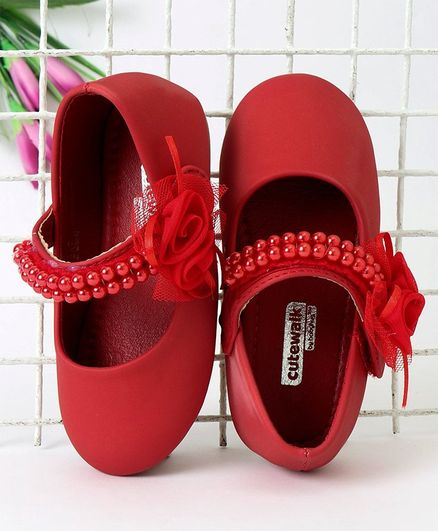 Cute Walk by Babyhug Party Wear Belly Shoes Floral Applique - Red